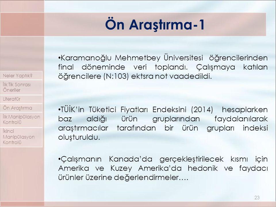 Karamanoğlu Mehmetbey Üniversitesi öğrencilerinden final döneminde veri toplandı. Çalışmaya katılan öğrencilere (N:103) ektsra not vaadedildi. TÜİK'in
