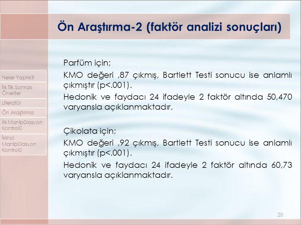 Parfüm için; KMO değeri,87 çıkmış, Bartlett Testi sonucu ise anlamlı çıkmıştır (p<.001). Hedonik ve faydacı 24 ifadeyle 2 faktör altında 50,470 varyan