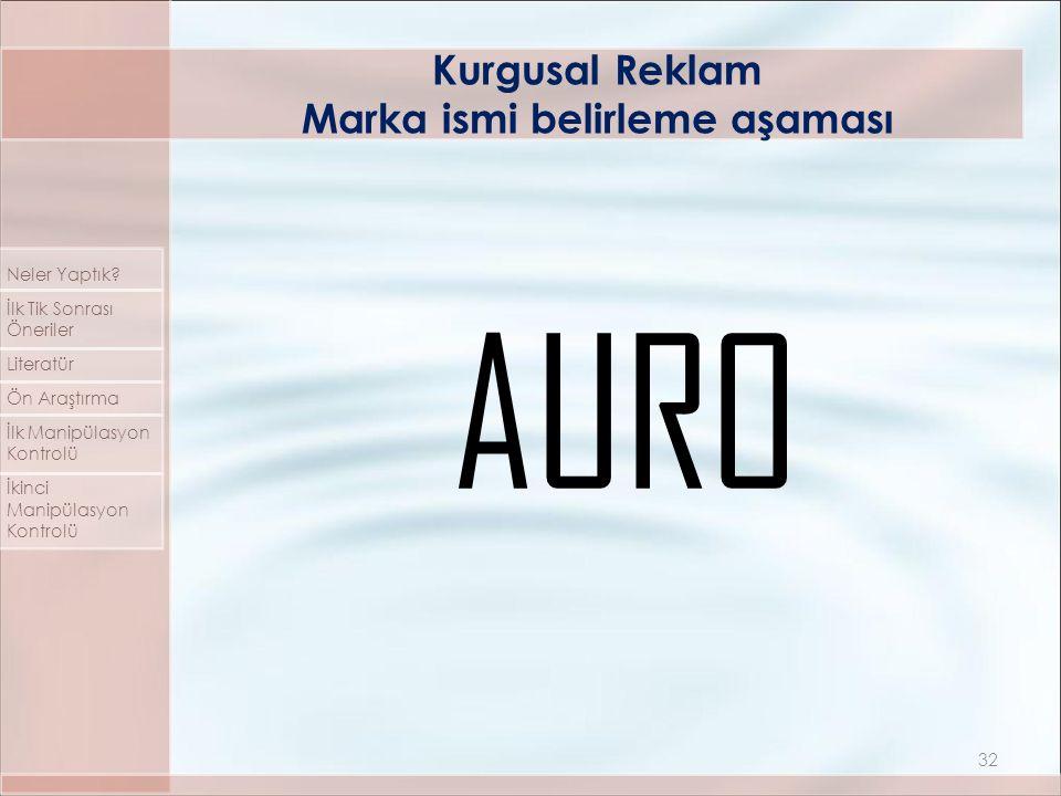 AURO Kurgusal Reklam Marka ismi belirleme aşaması 32 Neler Yaptık.