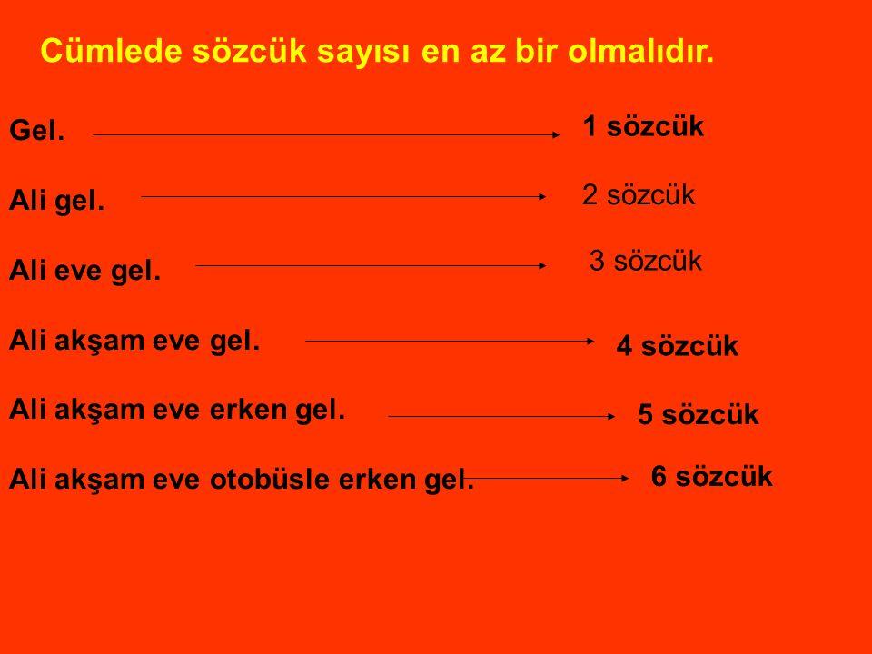 Sözcük sayılarını söyleyelim. Ali eve geldi. 1 2 3 Bu akşam ay tutulması olacakmış. 1 2 3 4 5 Atatürk 19 Mayıs 1919'da Samsun'a çıktı. 1 2 3 4 5 6 Ann