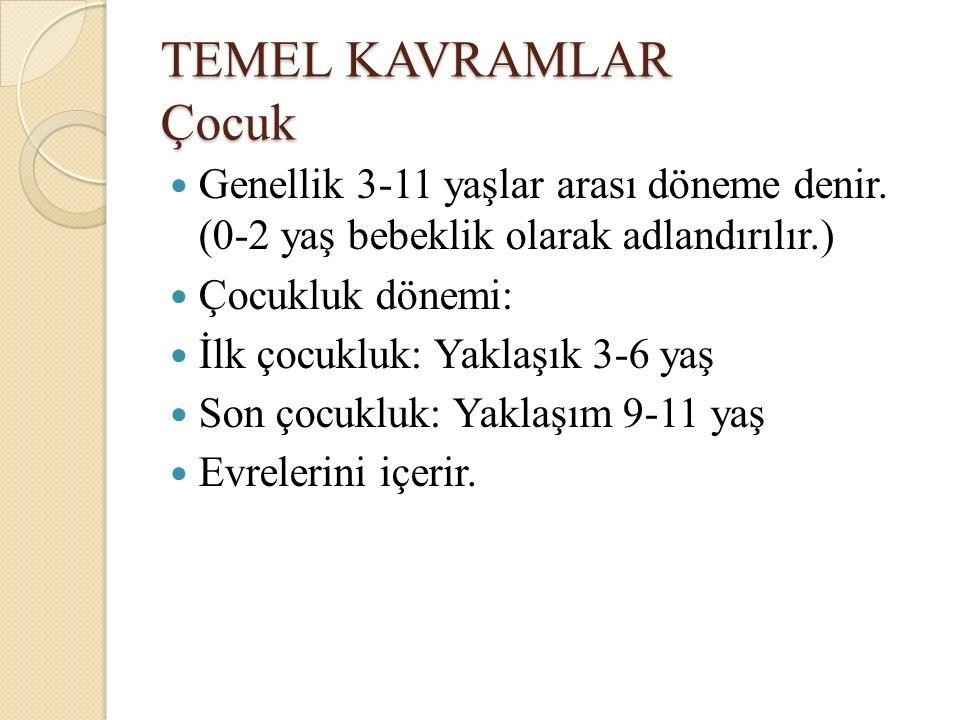 TEMEL KAVRAMLAR Çocuk Genellik 3-11 yaşlar arası döneme denir. (0-2 yaş bebeklik olarak adlandırılır.) Çocukluk dönemi: İlk çocukluk: Yaklaşık 3-6 yaş