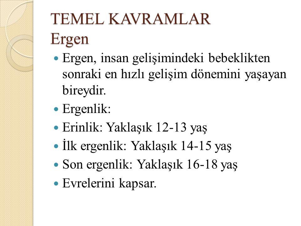 TEMEL KAVRAMLAR Ergen Ergen, insan gelişimindeki bebeklikten sonraki en hızlı gelişim dönemini yaşayan bireydir. Ergenlik: Erinlik: Yaklaşık 12-13 yaş