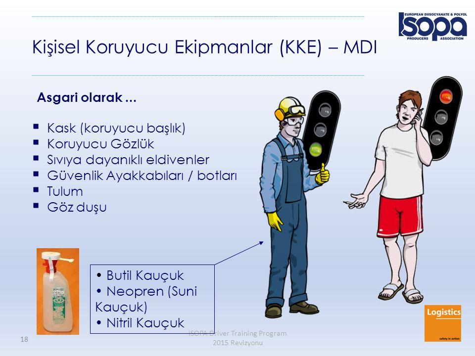 ISOPA Driver Training Program 2015 Revizyonu 18 Kişisel Koruyucu Ekipmanlar (KKE) – MDI  Kask (koruyucu başlık)  Koruyucu Gözlük  Sıvıya dayanıklı