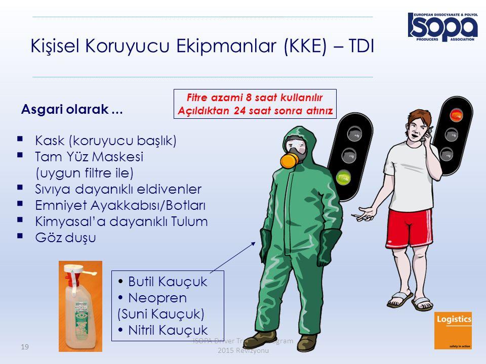 ISOPA Driver Training Program 2015 Revizyonu 19 Kişisel Koruyucu Ekipmanlar (KKE) – TDI  Kask (koruyucu başlık)  Tam Yüz Maskesi (uygun filtre ile)