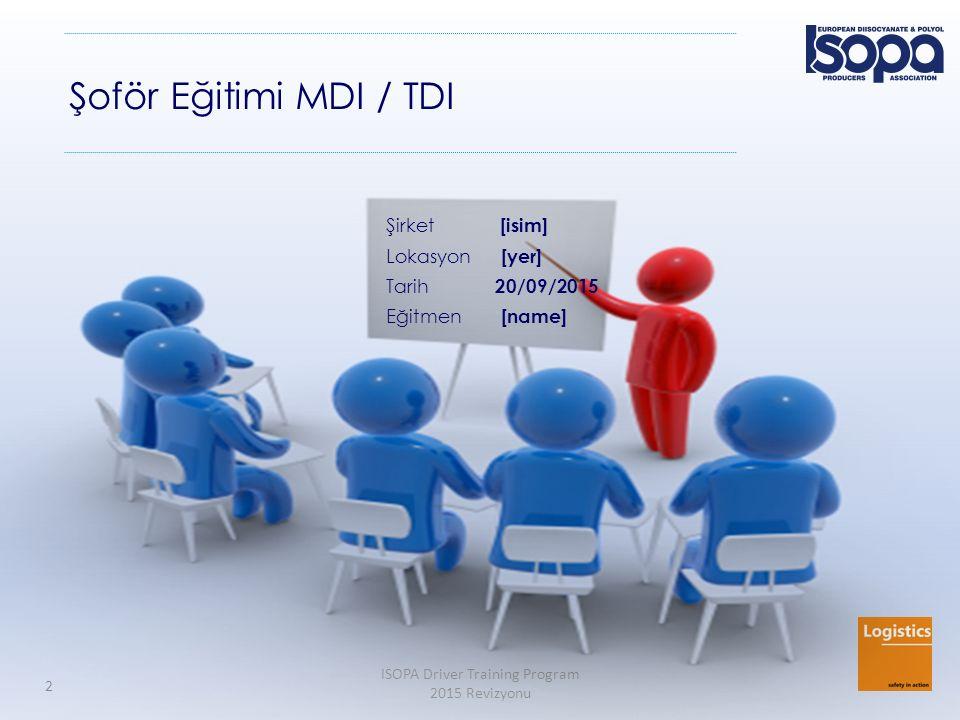 ISOPA Driver Training Program 2015 Revizyonu 2 Şoför Eğitimi MDI / TDI Şirket [isim] Lokasyon [yer] Tarih 20/09/2015 Eğitmen [name]