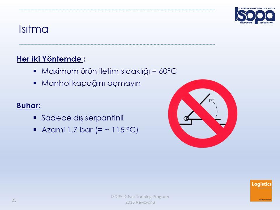 ISOPA Driver Training Program 2015 Revizyonu 35 Isıtma Her iki Yöntemde :  Maximum ürün iletim sıcaklığı = 60°C  Manhol kapağını açmayın Buhar:  Sa