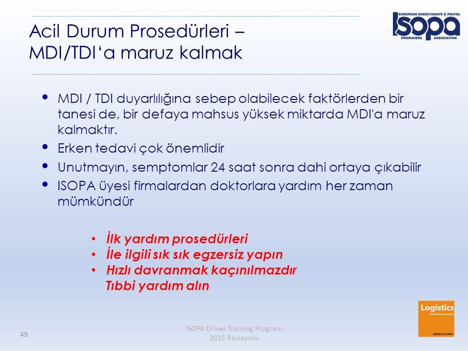 ISOPA Driver Training Program 2015 Revizyonu 49 Acil Durum Prosedürleri – MDI/TDI'a maruz kalmak MDI / TDI duyarlılığına sebep olabilecek faktörlerden