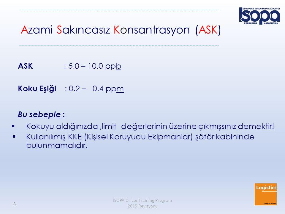 ISOPA Driver Training Program 2015 Revizyonu 8 Azami Sakıncasız Konsantrasyon (ASK) ASK : 5.0 – 10.0 ppb Koku Eşiği : 0.2 – 0.4 ppm Bu sebeple :  Kok