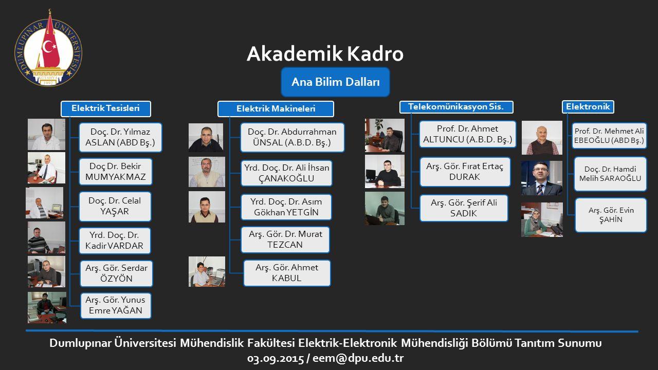 Dumlupınar Üniversitesi Mühendislik Fakültesi Elektrik-Elektronik Mühendisliği Bölümü Tanıtım Sunumu 03.09.2015 / eem@dpu.edu.tr Akademik Kadro Elektr
