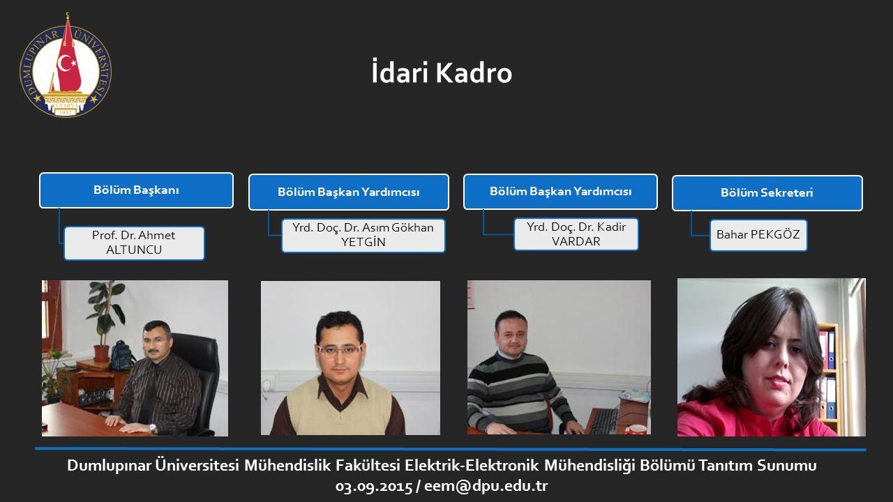 Dumlupınar Üniversitesi Mühendislik Fakültesi Elektrik-Elektronik Mühendisliği Bölümü Tanıtım Sunumu 03.09.2015 / eem@dpu.edu.tr İdari Kadro Bölüm Baş