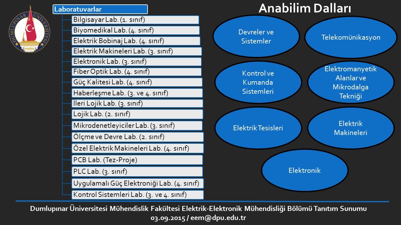 Dumlupınar Üniversitesi Mühendislik Fakültesi Elektrik-Elektronik Mühendisliği Bölümü Tanıtım Sunumu 03.09.2015 / eem@dpu.edu.tr Lojik Devreler Laboratuvarı Laboratuvar çalışmalarında temel kapıları incelemeye dayalı devreler, Boole cebri ile ilgili devreler, dijital karşılaştırıcı tasarımı, kombinezonsal devre gerçekleme, aritmetik işlem devreleri (toplama ve çıkarma), kapı elemanlarıyla kod dönüştürücü ve kodlayıcı tasarımı, dijital sistemlerde ortak yol tasarımı, ve sayıcı tasarımı deneyleri yapılmaktadır.