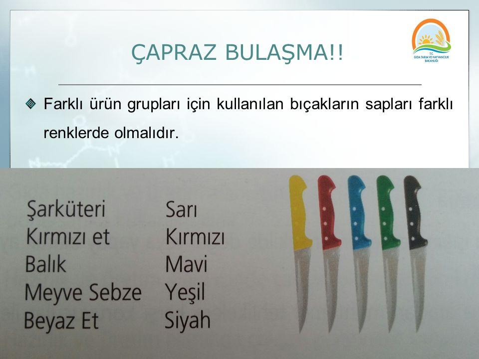 ÇAPRAZ BULAŞMA!! Farklı ürün grupları için kullanılan bıçakların sapları farklı renklerde olmalıdır.