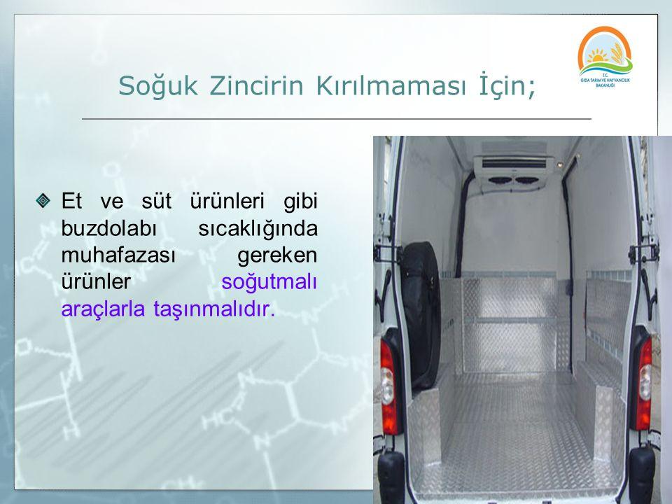 Soğuk Zincirin Kırılmaması İçin; Et ve süt ürünleri gibi buzdolabı sıcaklığında muhafazası gereken ürünler soğutmalı araçlarla taşınmalıdır.