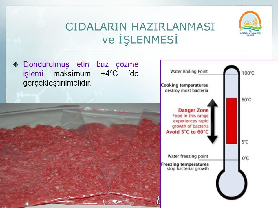 GIDALARIN HAZIRLANMASI ve İŞLENMESİ Dondurulmuş etin buz çözme işlemi maksimum +4ºC 'de gerçekleştirilmelidir.