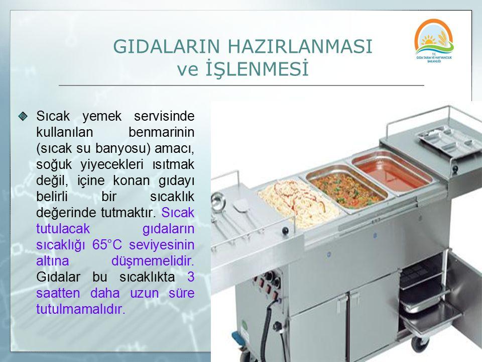 GIDALARIN HAZIRLANMASI ve İŞLENMESİ Sıcak yemek servisinde kullanılan benmarinin (sıcak su banyosu) amacı, soğuk yiyecekleri ısıtmak değil, içine kona