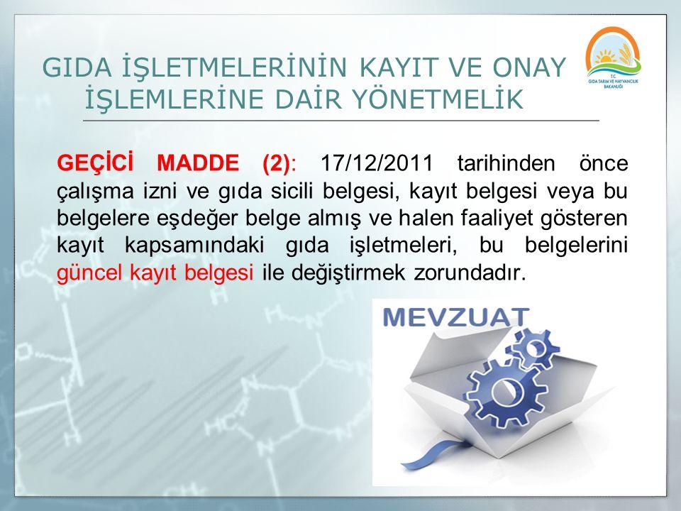 GIDA İŞLETMELERİNİN KAYIT VE ONAY İŞLEMLERİNE DAİR YÖNETMELİK GEÇİCİ MADDE (2): 17/12/2011 tarihinden önce çalışma izni ve gıda sicili belgesi, kayıt