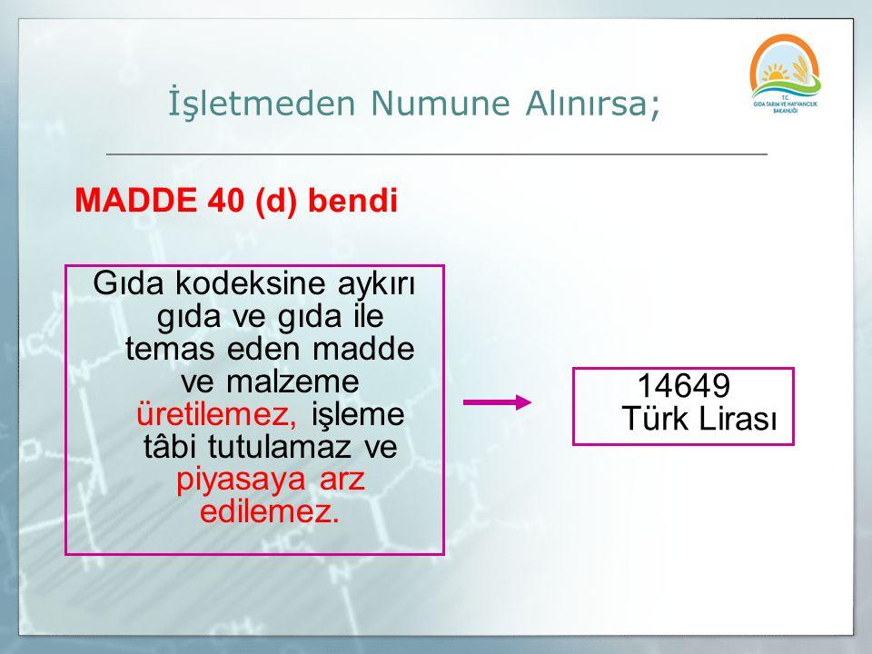 Gıda kodeksine aykırı gıda ve gıda ile temas eden madde ve malzeme üretilemez, işleme tâbi tutulamaz ve piyasaya arz edilemez. 14649 Türk Lirası İşlet