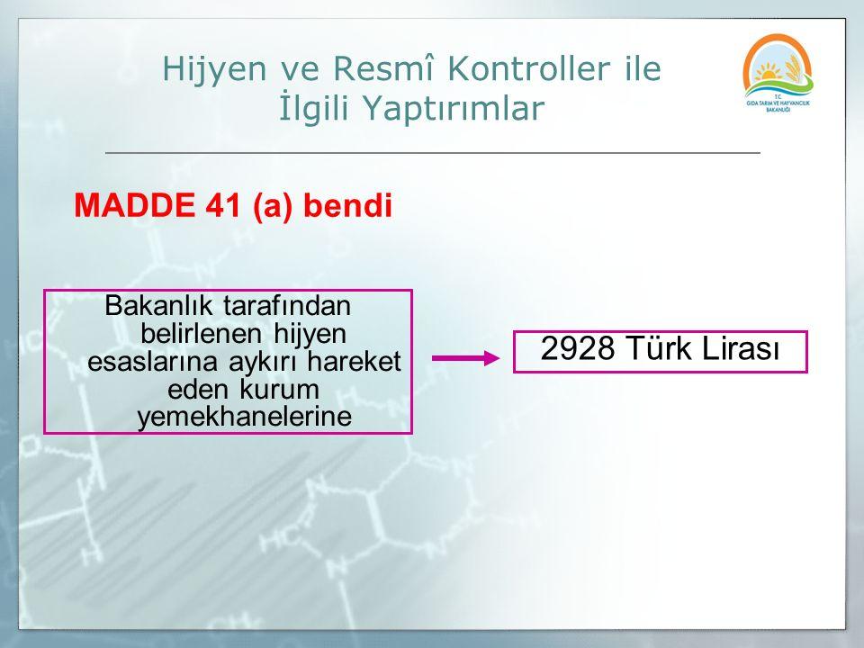 Bakanlık tarafından belirlenen hijyen esaslarına aykırı hareket eden kurum yemekhanelerine 2928 Türk Lirası Hijyen ve Resmî Kontroller ile İlgili Yapt