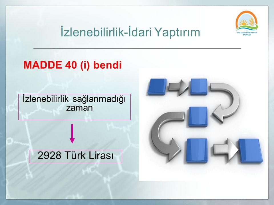 İzlenebilirlik-İdari Yaptırım MADDE 40 (i) bendi İzlenebilirlik sağlanmadığı zaman 2928 Türk Lirası