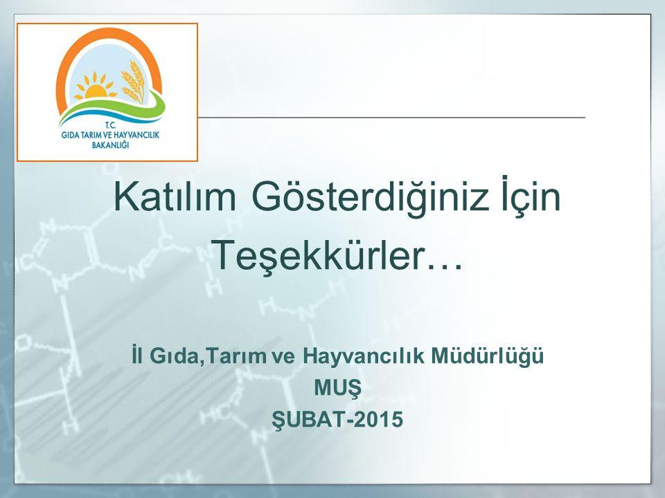 Katılım Gösterdiğiniz İçin Teşekkürler… İl Gıda,Tarım ve Hayvancılık Müdürlüğü MUŞ ŞUBAT-2015