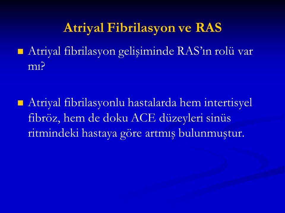 Atriyal Fibrilasyon ve RAS Atriyal fibrilasyon gelişiminde RAS'ın rolü var mı? Atriyal fibrilasyonlu hastalarda hem intertisyel fibröz, hem de doku AC