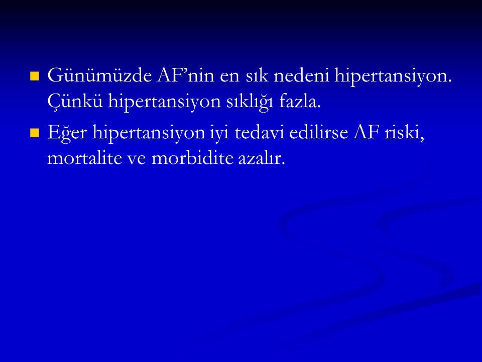 Günümüzde AF'nin en sık nedeni hipertansiyon. Çünkü hipertansiyon sıklığı fazla. Eğer hipertansiyon iyi tedavi edilirse AF riski, mortalite ve morbidi