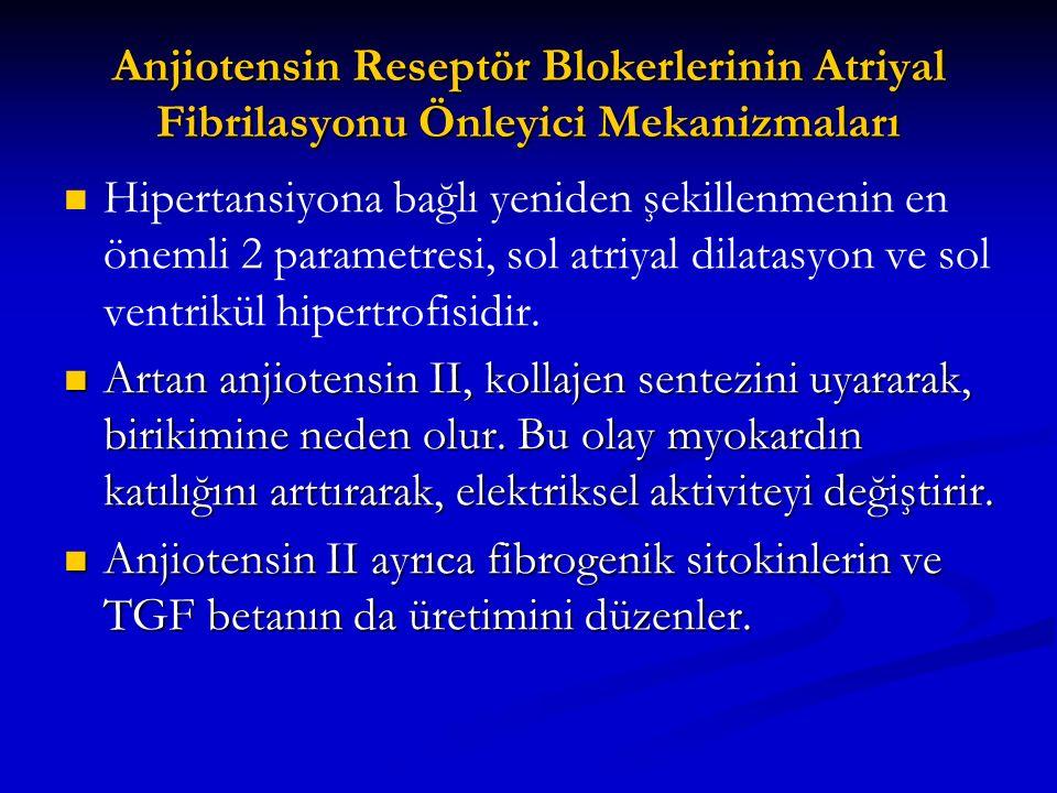 Anjiotensin Reseptör Blokerlerinin Atriyal Fibrilasyonu Önleyici Mekanizmaları Hipertansiyona bağlı yeniden şekillenmenin en önemli 2 parametresi, sol