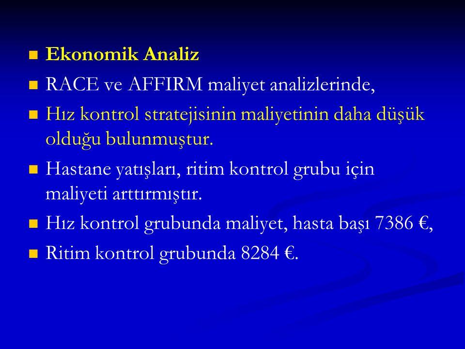 Ekonomik Analiz RACE ve AFFIRM maliyet analizlerinde, Hız kontrol stratejisinin maliyetinin daha düşük olduğu bulunmuştur. Hastane yatışları, ritim ko