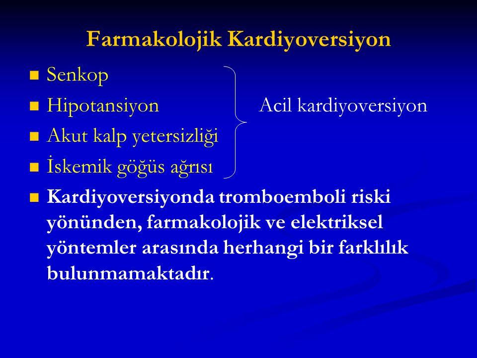Farmakolojik Kardiyoversiyon Senkop Hipotansiyon Acil kardiyoversiyon Akut kalp yetersizliği İskemik göğüs ağrısı Kardiyoversiyonda tromboemboli riski