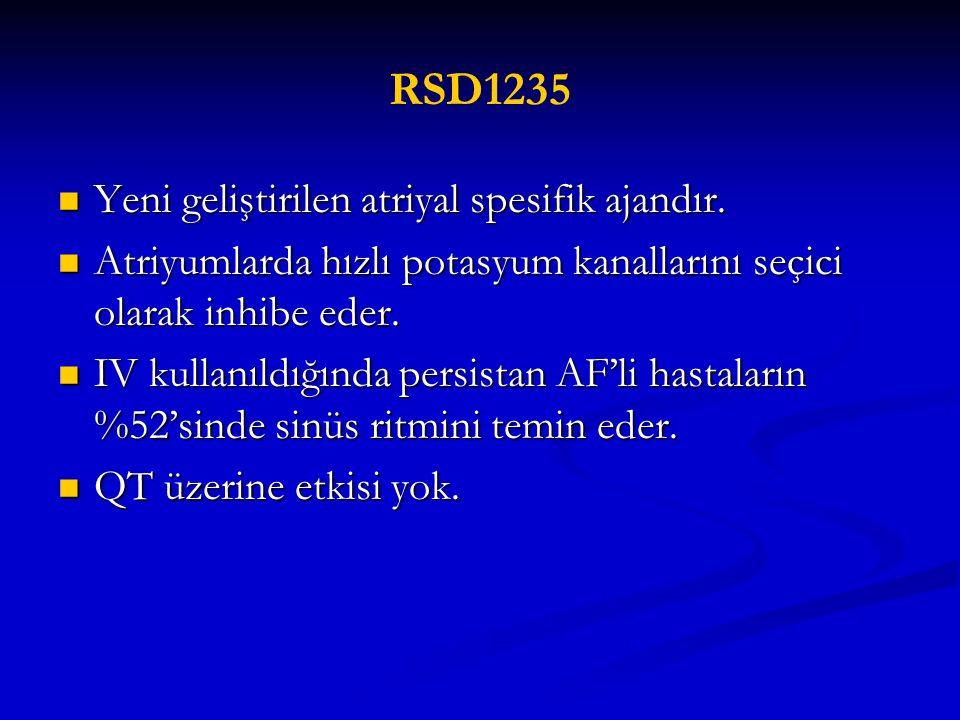 RSD1235 Yeni geliştirilen atriyal spesifik ajandır. Yeni geliştirilen atriyal spesifik ajandır. Atriyumlarda hızlı potasyum kanallarını seçici olarak