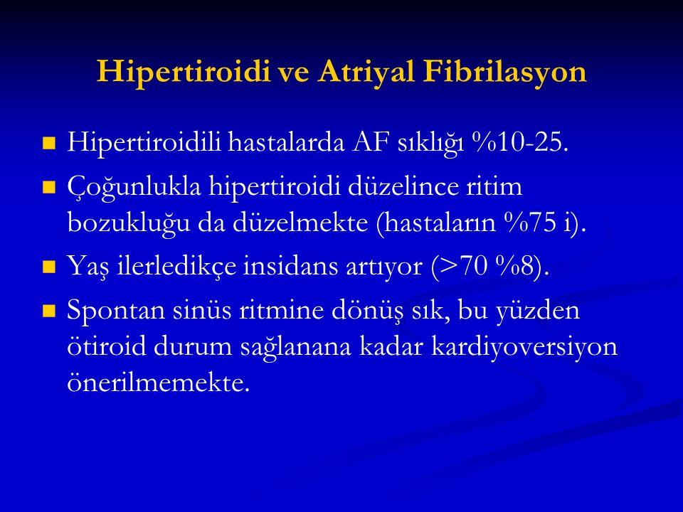 Hipertiroidi ve Atriyal Fibrilasyon Hipertiroidili hastalarda AF sıklığı %10-25. Çoğunlukla hipertiroidi düzelince ritim bozukluğu da düzelmekte (hast