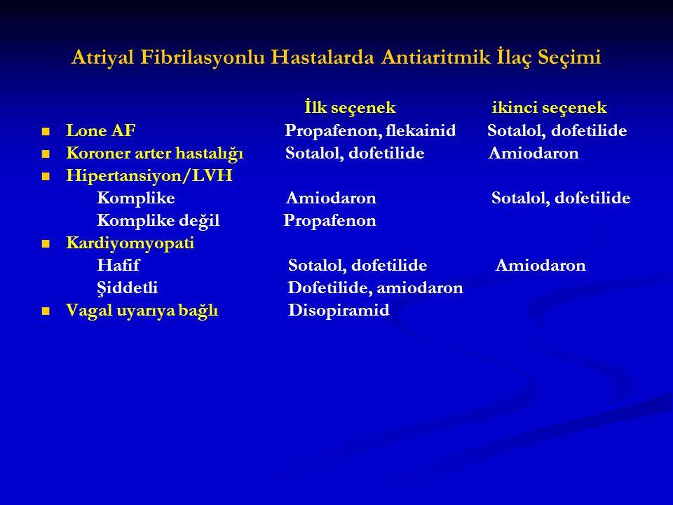 Atriyal Fibrilasyonlu Hastalarda Antiaritmik İlaç Seçimi İlk seçenek ikinci seçenek Lone AF Propafenon, flekainid Sotalol, dofetilide Koroner arter ha