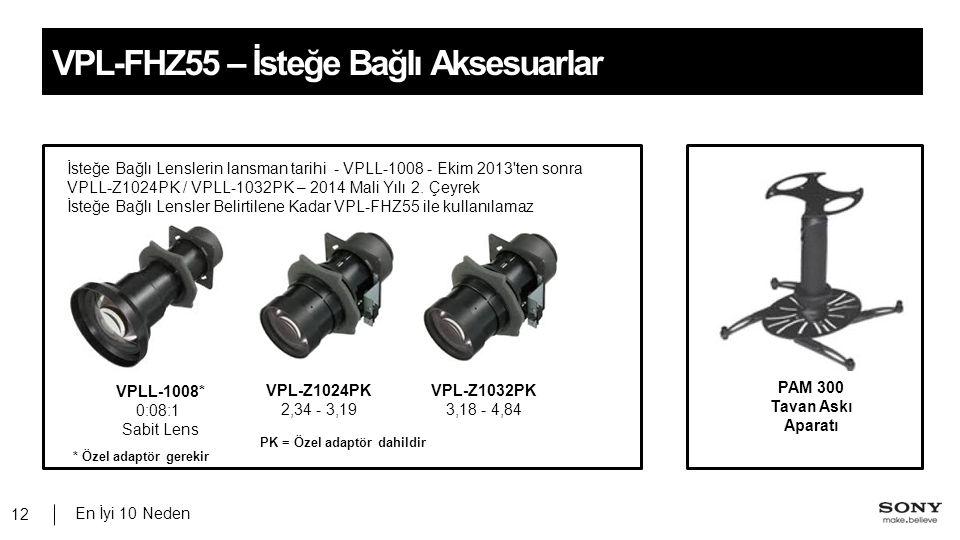 En İyi 10 Neden 12 VPL-FHZ55 – İsteğe Bağlı Aksesuarlar VPL-Z1024PK 2,34 - 3,19 VPLL-1008* 0:08:1 Sabit Lens VPL-Z1032PK 3,18 - 4,84 PAM 300 Tavan Askı Aparatı İsteğe Bağlı Lenslerin lansman tarihi - VPLL-1008 - Ekim 2013 ten sonra VPLL-Z1024PK / VPLL-1032PK – 2014 Mali Yılı 2.