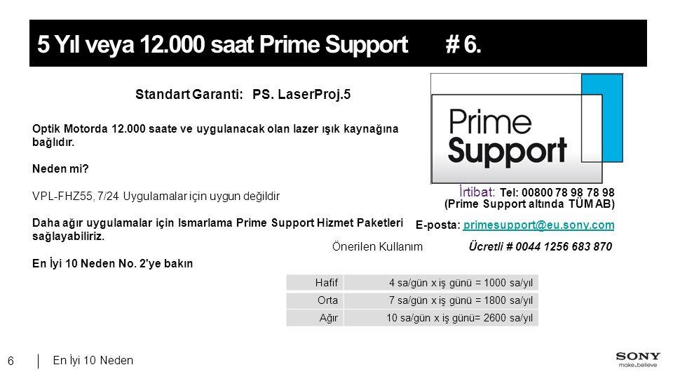En İyi 10 Neden 6 # 6.5 Yıl veya 12.000 saat Prime Support Standart Garanti: PS. LaserProj.5 İrtibat: Tel: 00800 78 98 78 98 (Prime Support altında TÜ