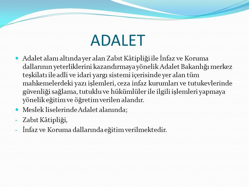 ADALET Adalet alanı altında yer alan Zabıt Kâtipliği ile İnfaz ve Koruma dallarının yeterliklerini kazandırmaya yönelik Adalet Bakanlığı merkez teşkil