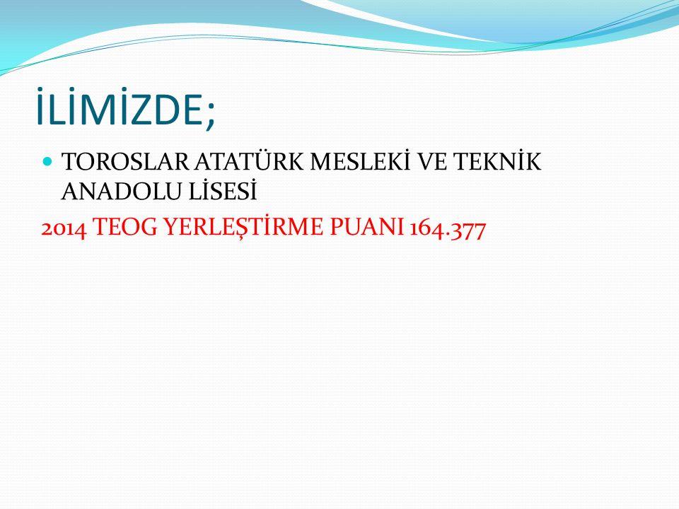 İLİMİZDE; TOROSLAR ATATÜRK MESLEKİ VE TEKNİK ANADOLU LİSESİ 2014 TEOG YERLEŞTİRME PUANI 164.377