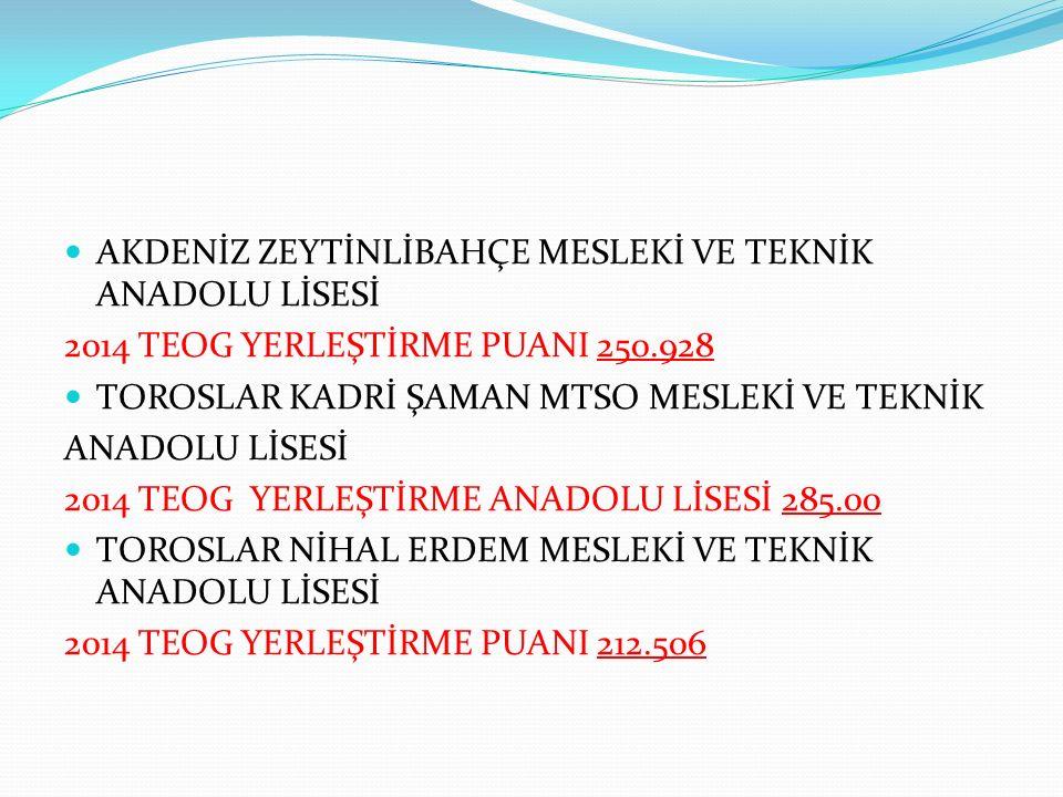 İLİMİZDE; TOROSLAR,ATATÜRK MESLEKİ VE TEKNİK ANADOLU LİSESİ 2014 TEOG YERLEŞTİRME PUANI 164.377