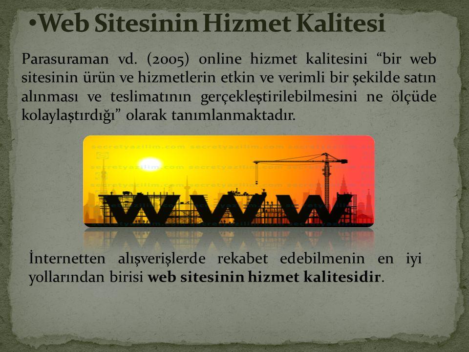 """Parasuraman vd. (2005) online hizmet kalitesini """"bir web sitesinin ürün ve hizmetlerin etkin ve verimli bir şekilde satın alınması ve teslimatının ger"""