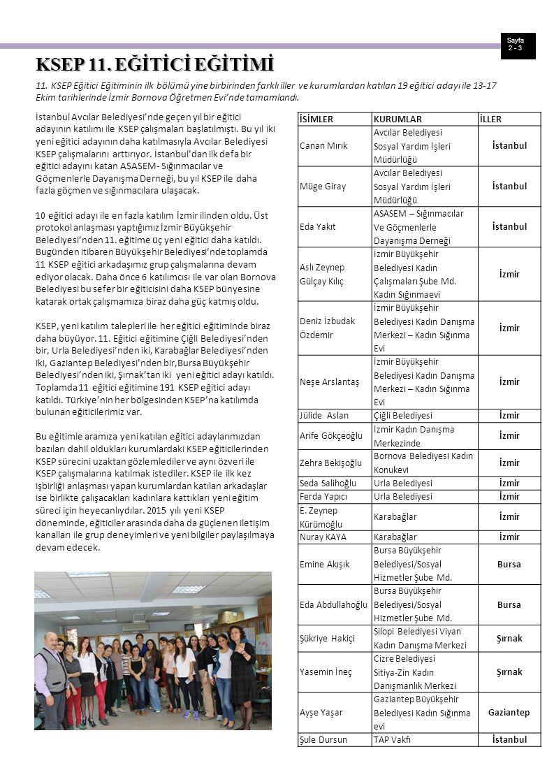 Sayfa 2 - 3 11. KSEP Eğitici Eğitiminin ilk bölümü yine birbirinden farklı iller ve kurumlardan katılan 19 eğitici adayı ile 13-17 Ekim tarihlerinde İ