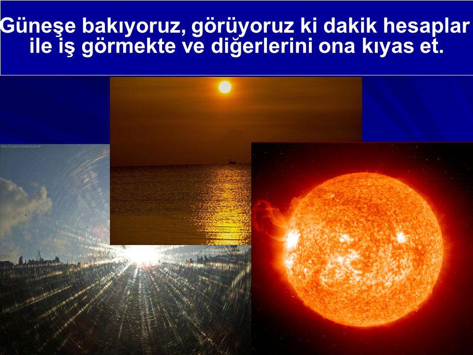 Güneşe bakıyoruz, görüyoruz ki dakik hesaplar ile iş görmekte ve diğerlerini ona kıyas et.