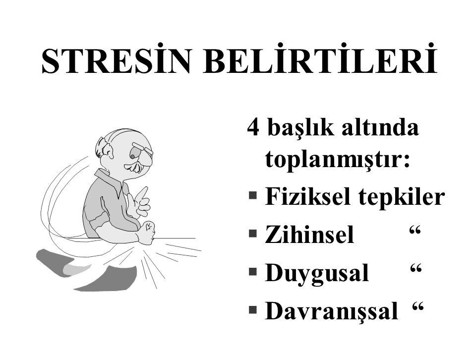 """STRESİN BELİRTİLERİ 4 başlık altında toplanmıştır: §Fiziksel tepkiler §Zihinsel """" §Duygusal """" §Davranışsal """""""