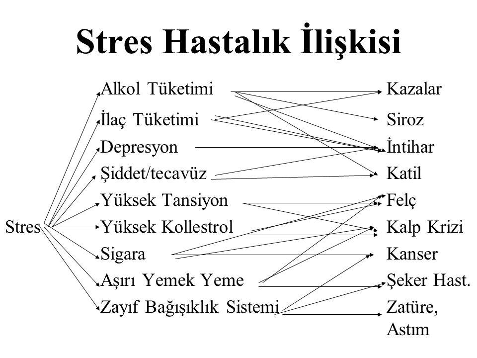 Stres Hastalık İlişkisi Alkol TüketimiKazalar İlaç TüketimiSiroz Depresyonİntihar Şiddet/tecavüzKatil Yüksek TansiyonFelç StresYüksek KollestrolKalp K