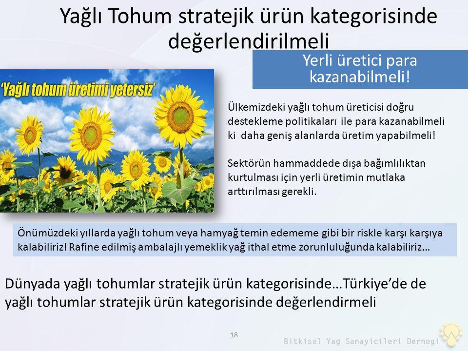 18 Yağlı Tohum stratejik ürün kategorisinde değerlendirilmeli Dünyada yağlı tohumlar stratejik ürün kategorisinde…Türkiye'de de yağlı tohumlar stratej