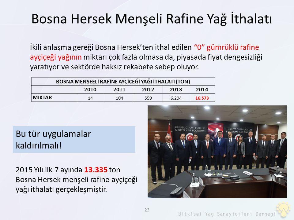 """23 İkili anlaşma gereği Bosna Hersek'ten ithal edilen """"0"""" gümrüklü rafine ayçiçeği yağının miktarı çok fazla olmasa da, piyasada fiyat dengesizliği ya"""