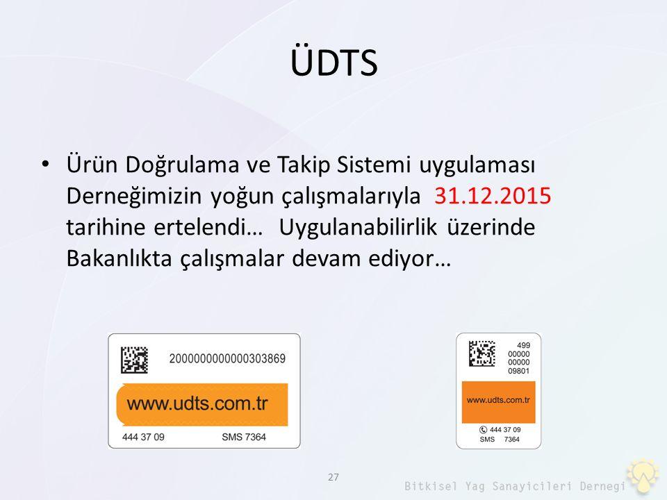 ÜDTS Ürün Doğrulama ve Takip Sistemi uygulaması Derneğimizin yoğun çalışmalarıyla 31.12.2015 tarihine ertelendi… Uygulanabilirlik üzerinde Bakanlıkta