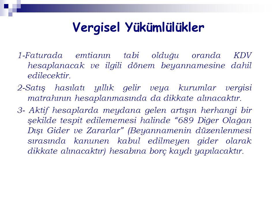 Vergisel Yükümlülükler 1-Faturada emtianın tabi olduğu oranda KDV hesaplanacak ve ilgili dönem beyannamesine dahil edilecektir.