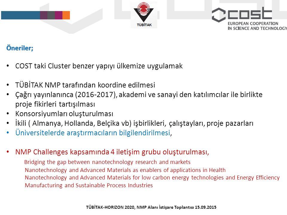 Öneriler; COST taki Cluster benzer yapıyı ülkemize uygulamak TÜBİTAK NMP tarafından koordine edilmesi Çağrı yayınlanınca (2016-2017), akademi ve sanay
