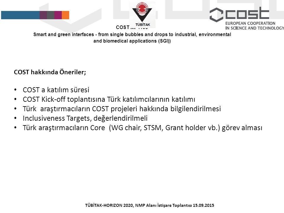 COST hakkında Öneriler; COST a katılım süresi COST Kick-off toplantısına Türk katılımcılarının katılımı Türk araştırmacıların COST projeleri hakkında