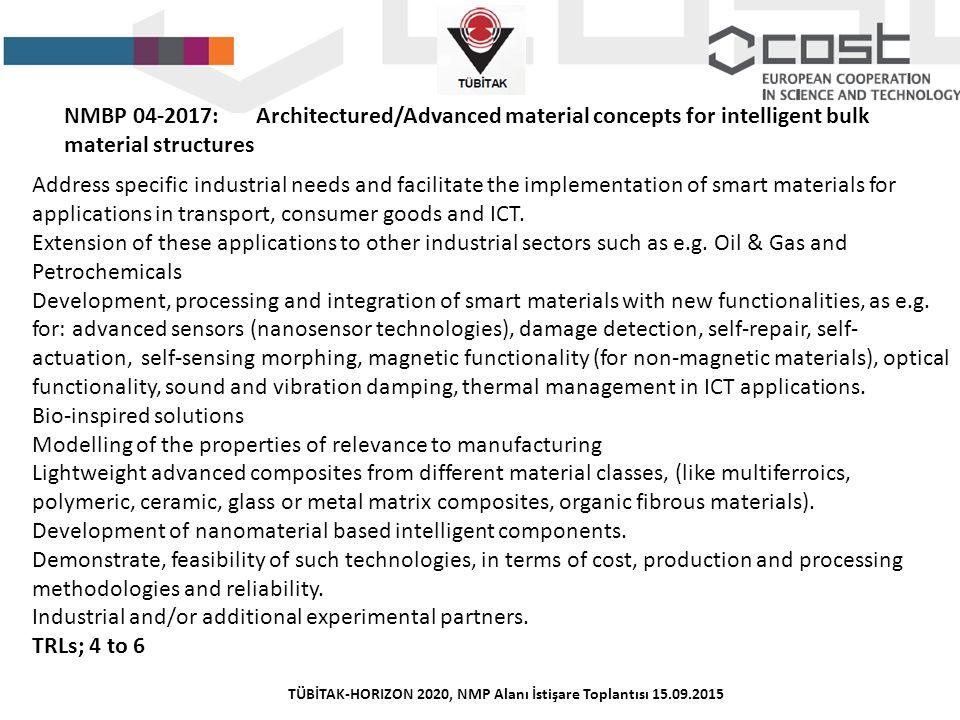 TÜBİTAK-HORIZON 2020, NMP Alanı İstişare Toplantısı 15.09.2015 NMBP 04-2017:Architectured/Advanced material concepts for intelligent bulk material str