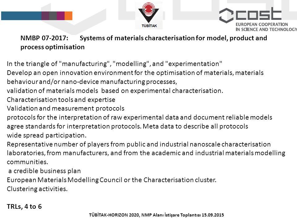 TÜBİTAK-HORIZON 2020, NMP Alanı İstişare Toplantısı 15.09.2015 NMBP 07-2017:Systems of materials characterisation for model, product and process optim
